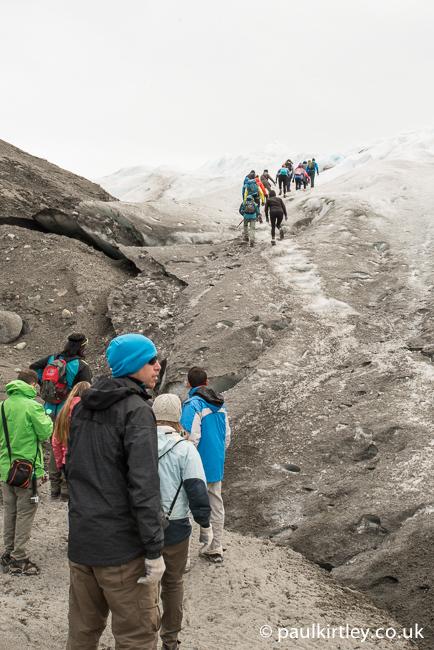 Heading onto the ice on the Perito Moreno glacier