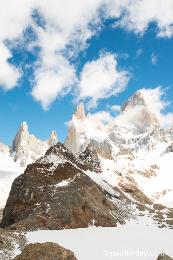 View of Mount Fitz Roy from Laguna De los Tres, Patagonia, Argentina.
