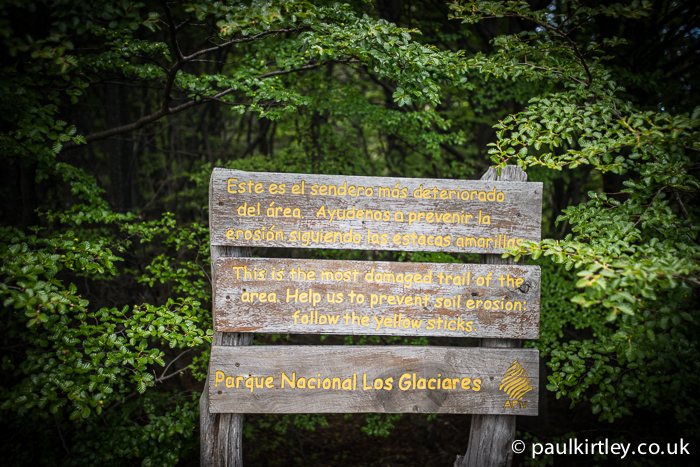 Sign in Parque Nacional Los Glaciares