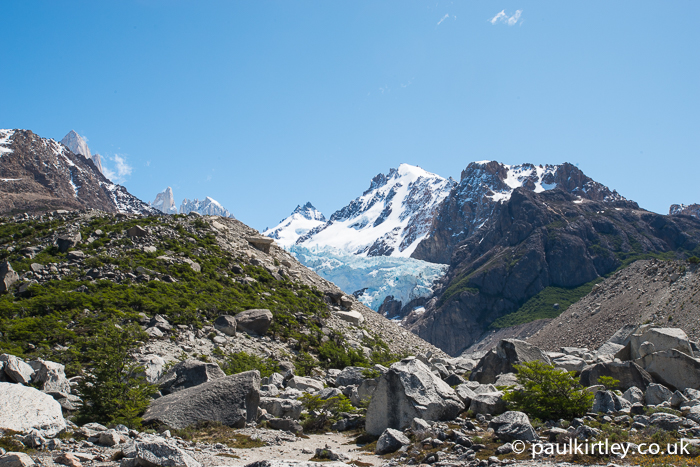 Glimpse of the Piedras Blancas glacier behind the moraine