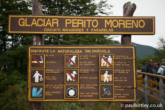 Sign at Perito Moreno glacier