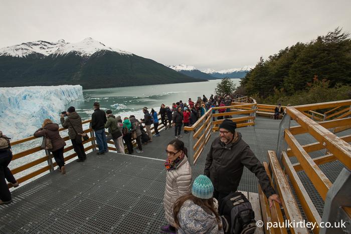 Busy walk ways at Perito Moreno.