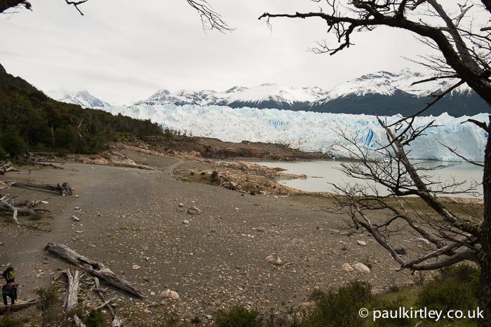 Beach near a glacier and lake