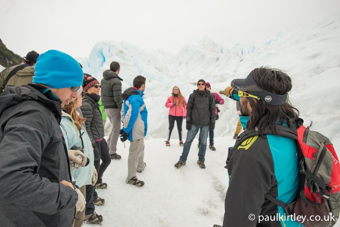 Guide addressing a group on the Perito Moreno glacier
