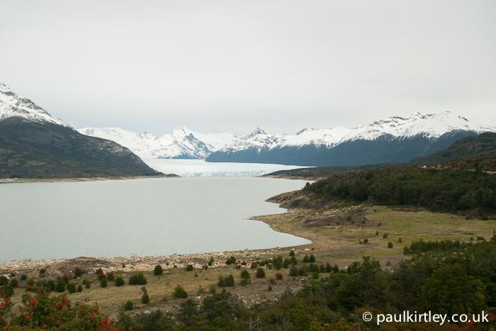 View of Perito Moreno glacier from approach road