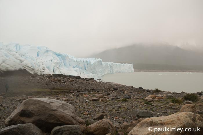 Perito Moreno with cloud and rain