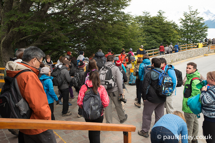 Throng of visitors outside the Perito Moreno visitor centre
