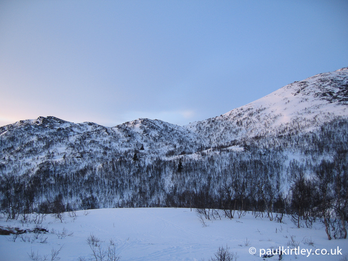 Sparse birch woods cover these hillsides in Norway. Photo: Paul Kirtley.