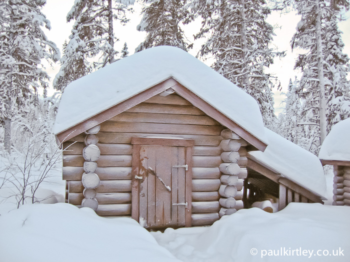 Outhouse in Sweden in winter