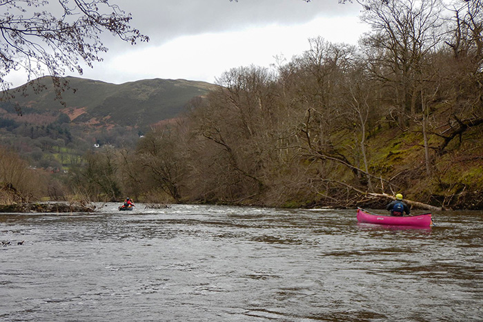 Canoeists on a river in north wales