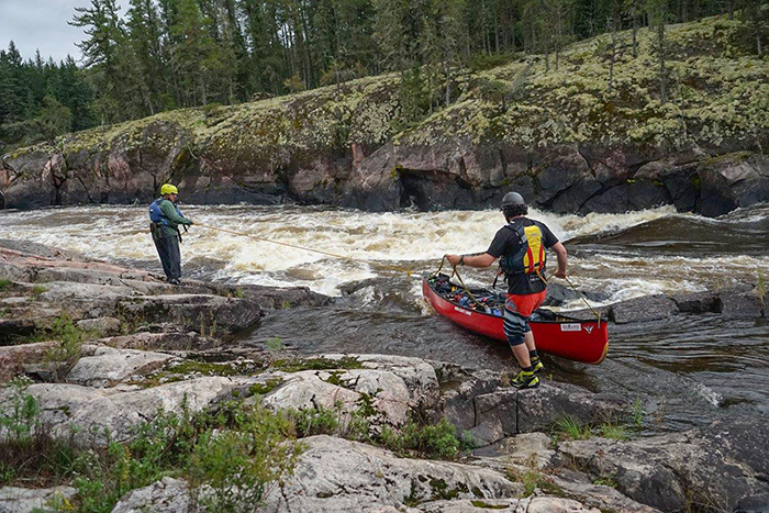 Lining rapids on the Bloodvein River