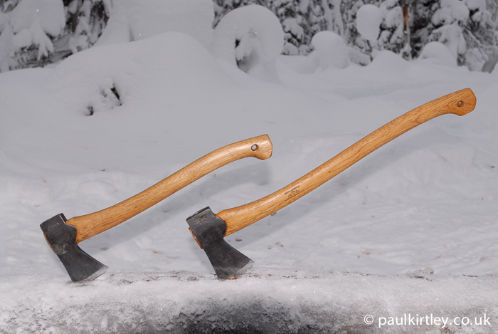 Small forest axe and Scandinavian forest axe in northern Sweden