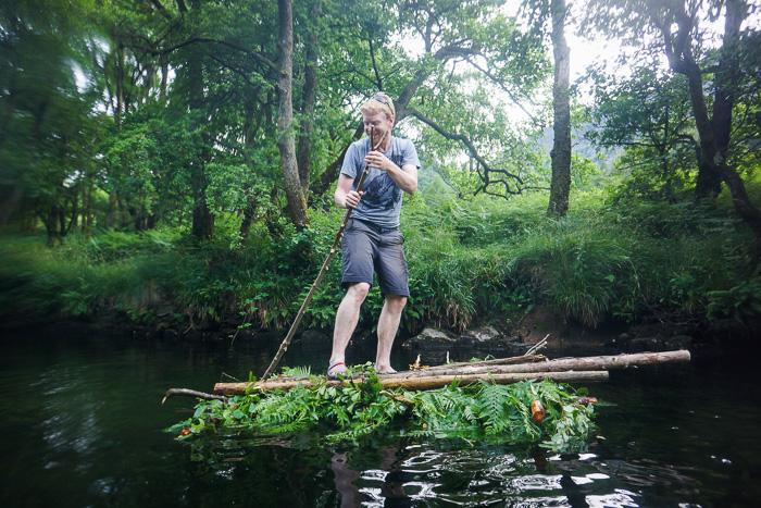 Al Humphries on an improvised raft