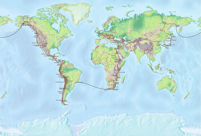 The route of Al's round the world bike trip.