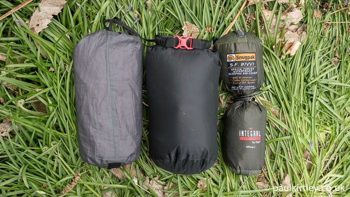 packed lightweight sleeping equipment for camping