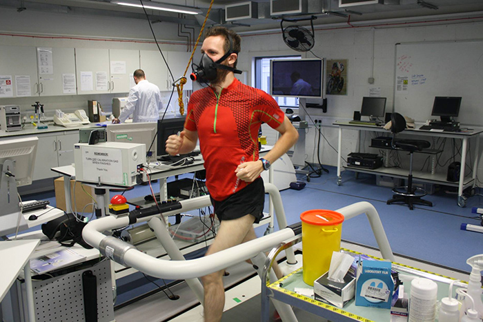 Mark Hines on treadmill with oxygen mask on