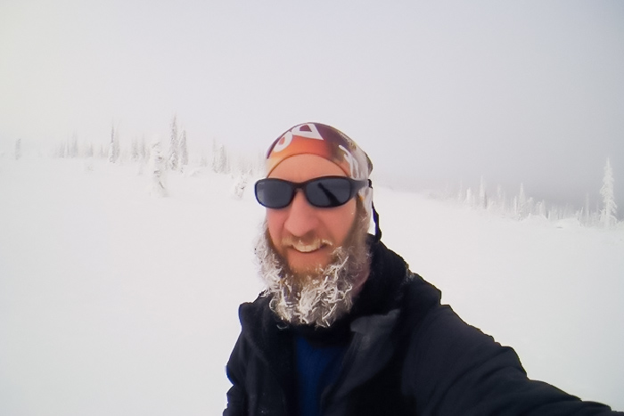 Winter frosty beard selfie of Mark Hines
