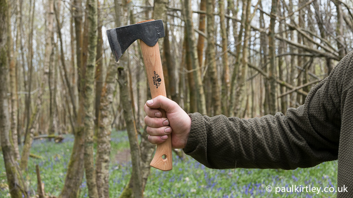 Holding the hatchet this way leaves very little handle length below the hand.  The lack of damping combined with a lighter head, means the hatchet will bounce back towards you considerably more rapidly than might be expected.