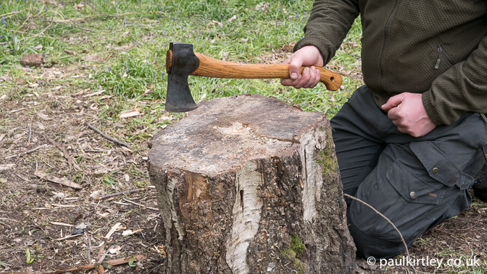Working on the part of the block opposite your body, puts a lot more wood between you and the axe.