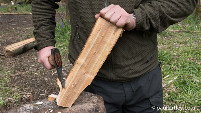 If you are carving, you have to keep hold of the piece you are working with the axe. There are a few rules to employ which will protect your hand.