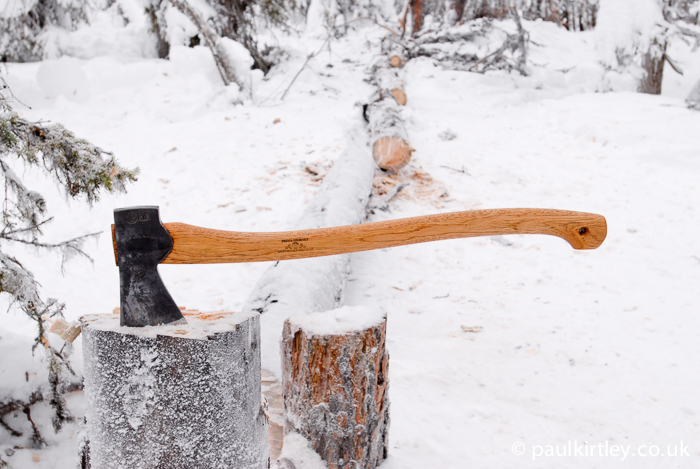 Axe in a frozen stump