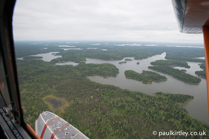 View from a bush plane over the Canadian boreal fores, wester Ontario.