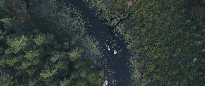 Aerial shot of the McGuffins in The Canoe film