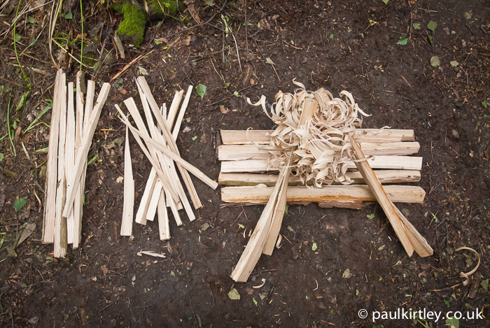 Kindling, hearth and feathersticks in Northern Temperate woodland, all produced from split wood.