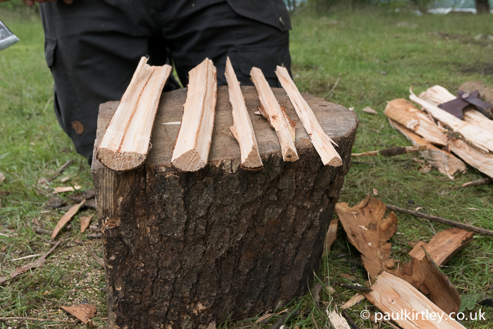 Various sizes of wooden splints having been split out with axe