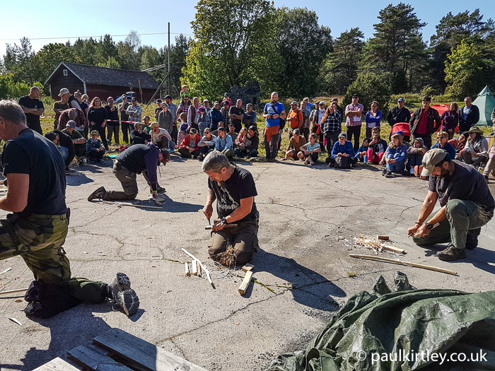 Swedish bow drill competition Bushcraftfestivalen
