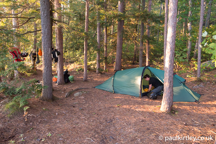 Hilleberg tent and hemlock trees