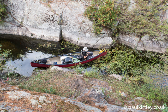 Canoe in rock crack