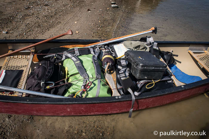 Canoe filled with gear.