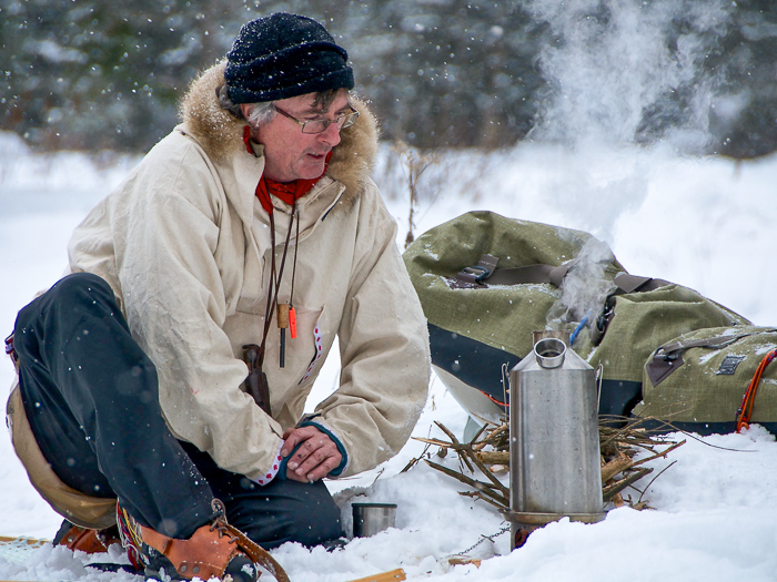 Kevin Callan on snowshoes with Kelly Kettle