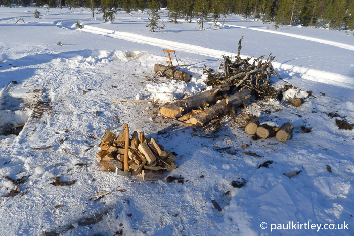 Firewood processing on snow