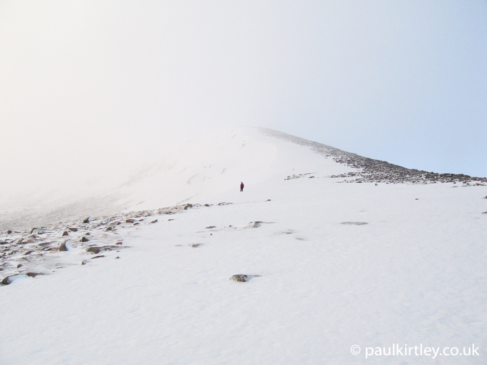Escape route from Cairngorm plateau in winter