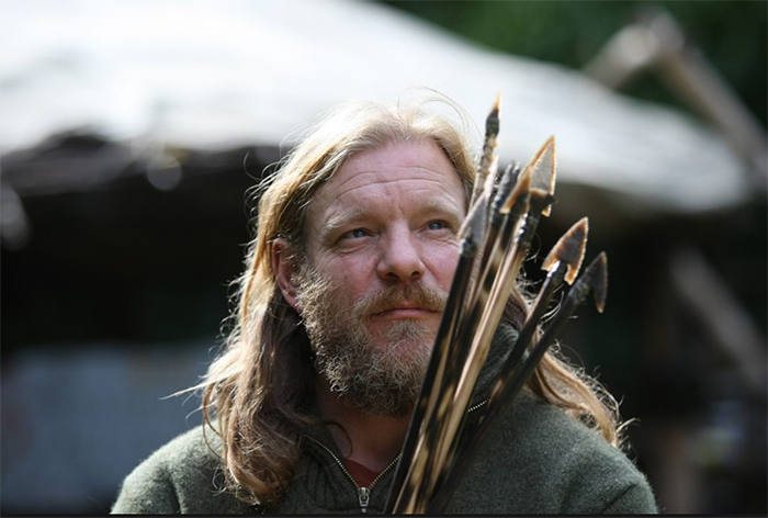 Will Lord with flint-tipped arrows