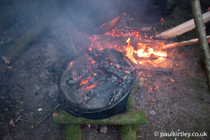 Dutch oven with embers