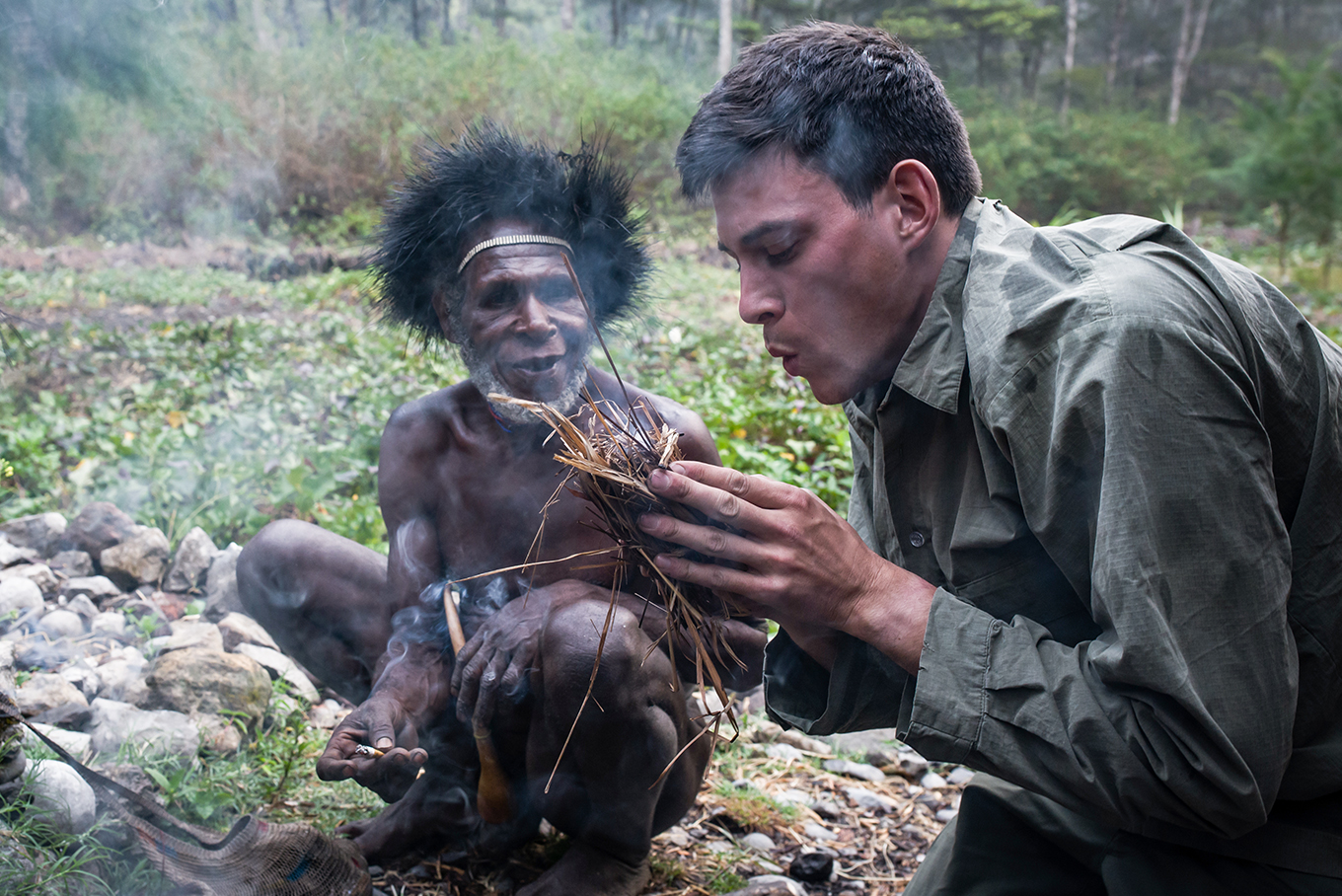 Dan Hume in West Papua fire making skills