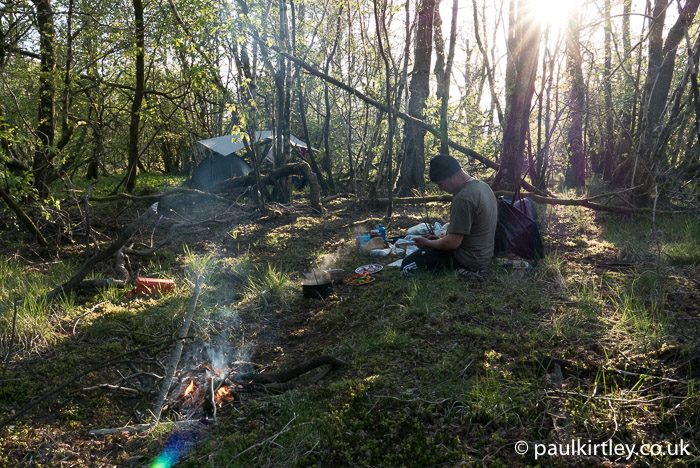 Wild camping in the woods near the river Tay