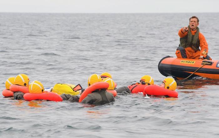 John Hudson directing sea survival training