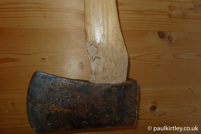 Axe with handle damage