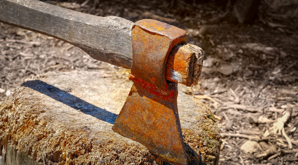 Old, neglected, dangerous axe