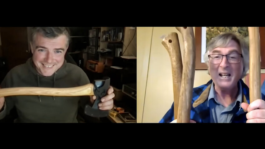 Paul Kirtley and Kevin Callan talking about types of axe